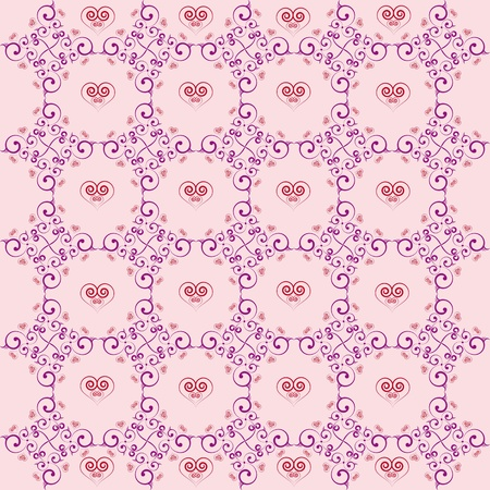 Background wallpaper delicate purple with love patterns with a heart in the middle Stock Vector - 13578813