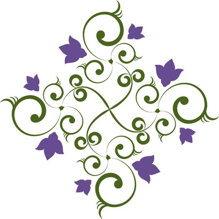 The flower pattern in green and purple colors Stock Vector - 13578737