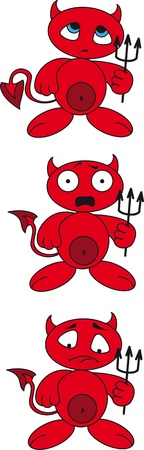 Cartoon little devil with a trident Illustration