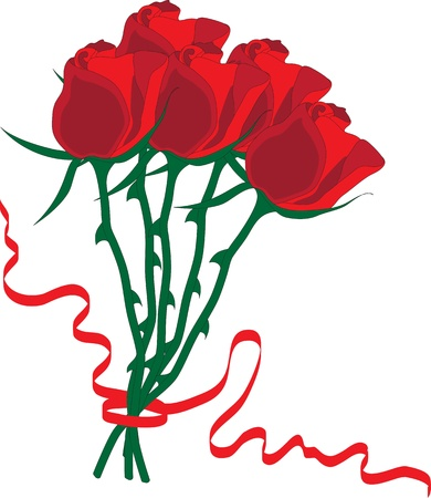 Bouquet of five red roses, bound with red ribbon Vector