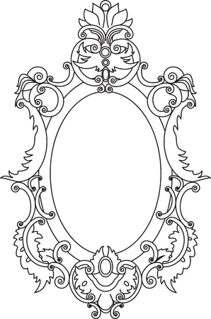 The frame is decorated with scrolls and floral elements