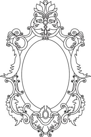 an oval: El marco está decorado con volutas y los elementos florales
