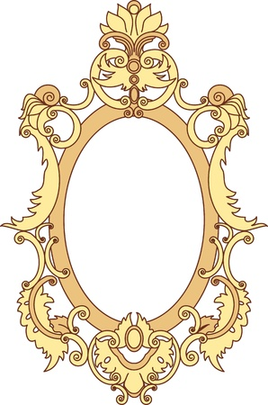 Gold frame is painted scrolls and floral elements