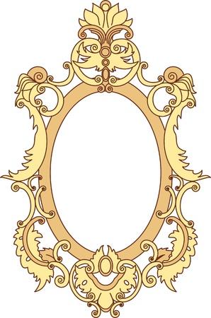 baroque: Marco de oro se pinta pergaminos y elementos florales Vectores