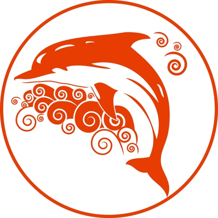 Vector illustration of the orange dolphin with waves  It can be used as a logo  Illustration