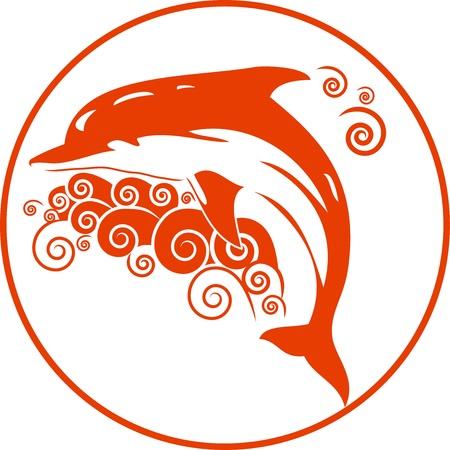 pez abstracto: Vector la ilustraci�n de los delfines de color naranja con las ondas que se puede utilizar como un logotipo