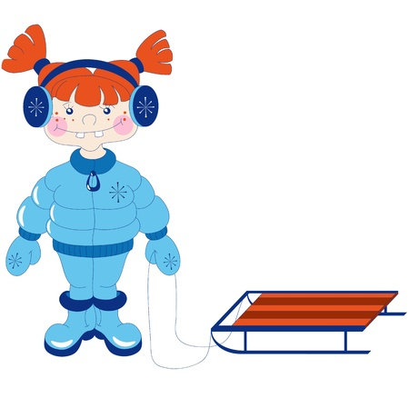 red haired girl: The little red haired girl in winter clothes with a sledge