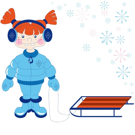 reckless: The little red haired girl in winter clothes  The image can be used as a basis for greeting cards   Illustration