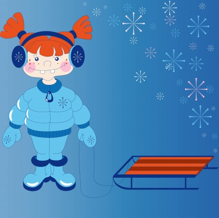 sledge: The little red haired girl in winter clothes with a sledge  The image can be used as a basis for greeting cards