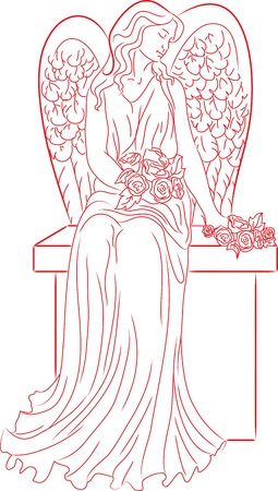 angel cemetery: Angel with roses  Red