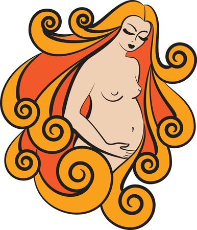 anticipation: Images of pregnant women in warm tones Illustration