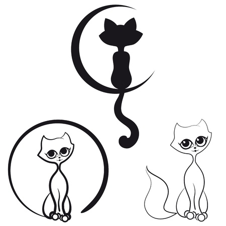 A set of contour cats for your logo