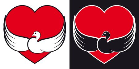 Dove with a heart  Black and white version Stock Vector - 16160911