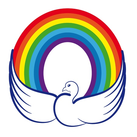 animals together: Image of a dove with a rainbow as a symbol of world peace, peaceful childhood, joy and harmony in the souls of children  Illustration