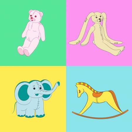 Wallpapers depicting the retro toys  old antique rocking horse, pink teddy bear, old yellow rabbit, blue elephant Stock Vector - 16438918