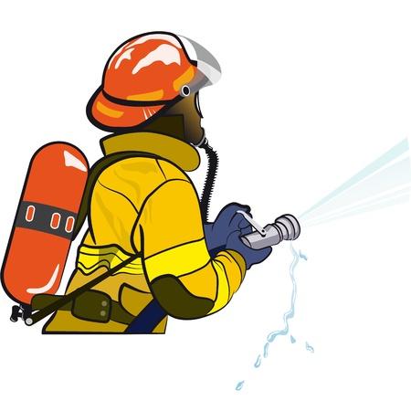 bombero de rojo: Bombero que sostiene una manguera