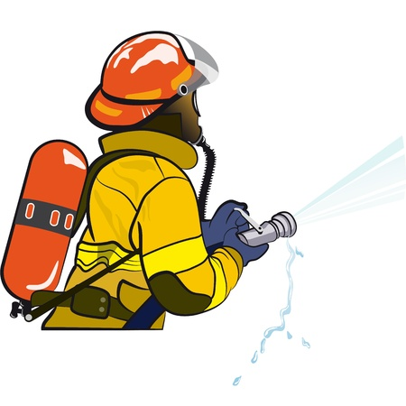 incendiary: Fire fighter holding a hose Illustration