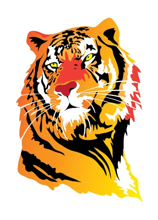 computer mascot: Tiger color emblem