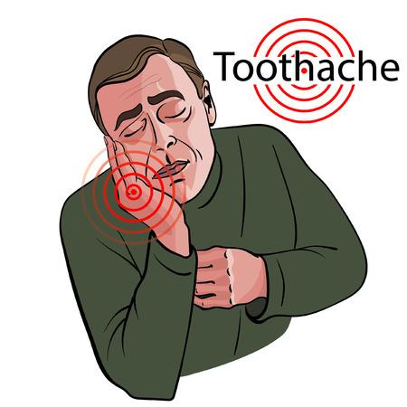 Man feels a strong toothache. Иллюстрация