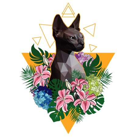 Polygon cat sphinx on a background of tropical flowers and leaves. T-shirt print design, vector illustration