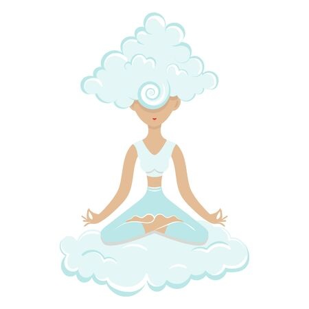 Perfect woman meditating sitting on cloud. Her head in a cloud of Nirvana Çizim