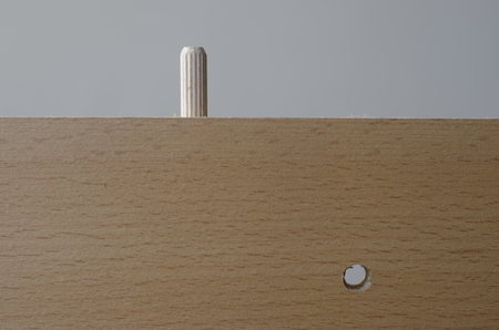 dowel: Furniture detail with dowel rod and hole