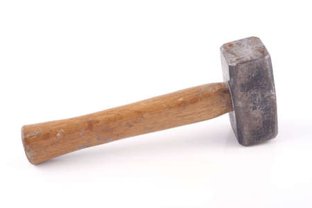 old rusty hammer isolated on white background photo