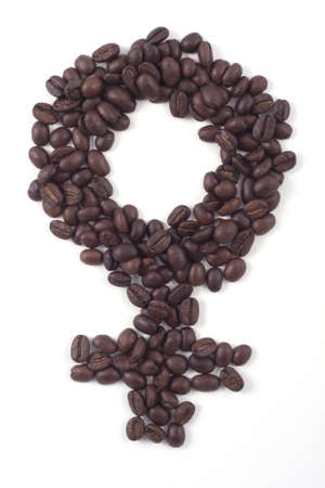 ladies bathroom sign made out of fair trade dark roasted coffee beans isolated on white sign made out of fair trade dark roasted coffee beans isolated on white Stock Photo - 8217669