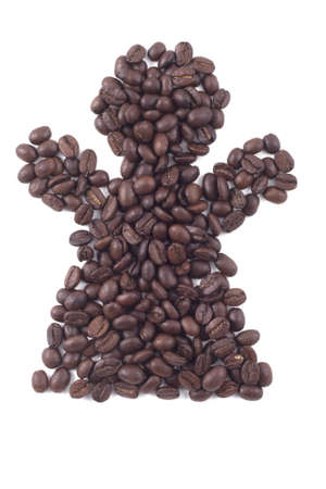 bathroom sign: ladies bathroom sign in dark roasted coffee beans isolated on white Stock Photo