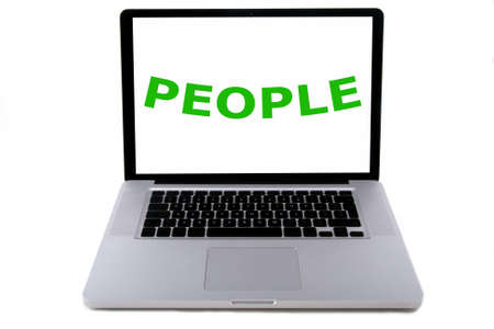 solarpower: The word people, concerning sustainable development, written on a screen of a aluminium design laptop. Belonging to the serie of people, planet, profit. Isolated on white.