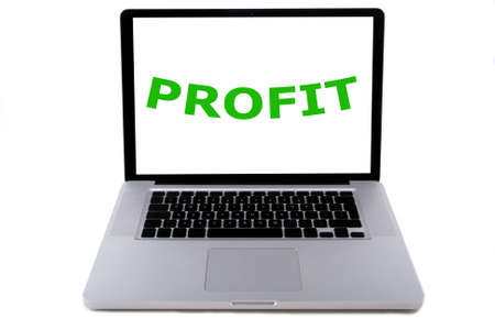 belonging: The word profit, concerning sustainable development, written in green on a screen of a aluminium design laptop. Belonging to the serie of people, planet, profit. Isolated on white. Stock Photo