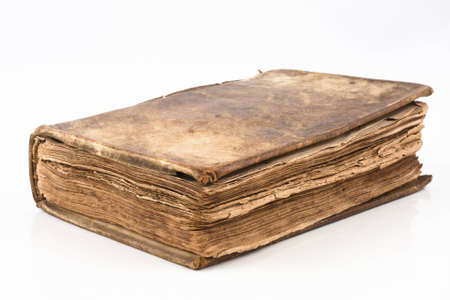 Old antique book from 1739 with leather cover isolated on white Stock Photo - 8368400