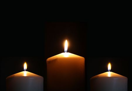 candlelight memorial: 3 Large Slow Burning Church Candles lit