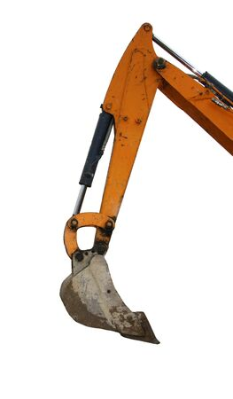 Mechanical Yellow Digger Arm Isolated on White Background photo