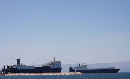 ship bow: Cargo Ships in the harbour
