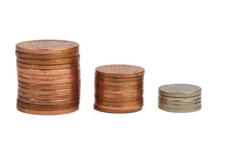 Conceptual Savings image coins stacked isolated Stock Photo - 8850208