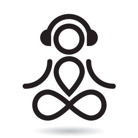 Yogi and headphones black icon. Meditation mood.