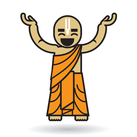 dhoti: Dancing Hare Krishna man. In happy mood.