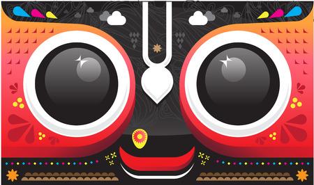 vedic: Lord Shri Jagannath, smiling face graphic design Illustration