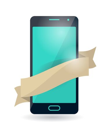 mobile phone icon: Mobile phone icon design with beige ribbon.