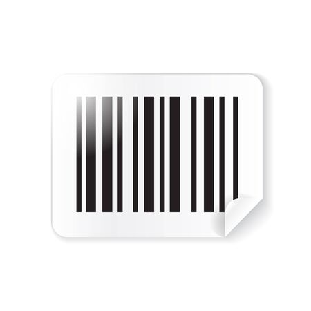 at the edge of: Vector barcode sticker, label with folded edge Illustration