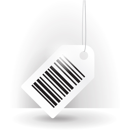 tilted: tilted white barcode label illustration with thread