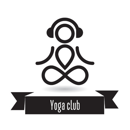 yogi: Yoga club logo design concept. Yogi with headphones. Illustration
