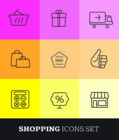on line shopping: Thin line shopping icons set. Minimalistic design. Illustration