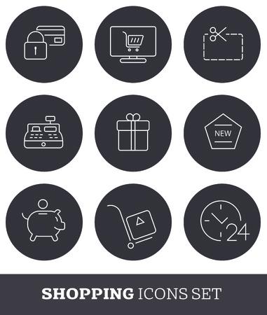 minimalistic: Thin line shopping icons set. Minimalistic design. Illustration