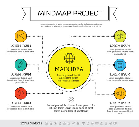 the mind: Mindmap, scheme infographic design concept with circles and icons. Illustration