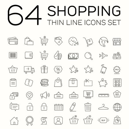 64 e-commerce and shopping icons. Thin line modern design. Stock Illustratie