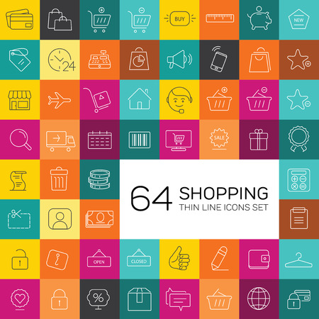 retail: 64 e-commerce and shopping icons. Thin line modern design. Illustration