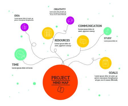 mente: Mapa mental, esquema de conceptos de diseño infografía con los círculos y los iconos.