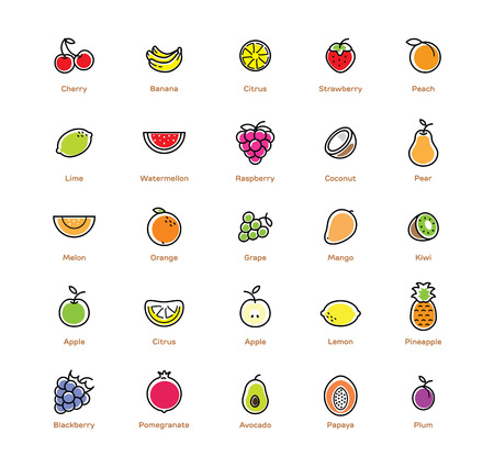 25 fruits icon set. Colorful modern design.